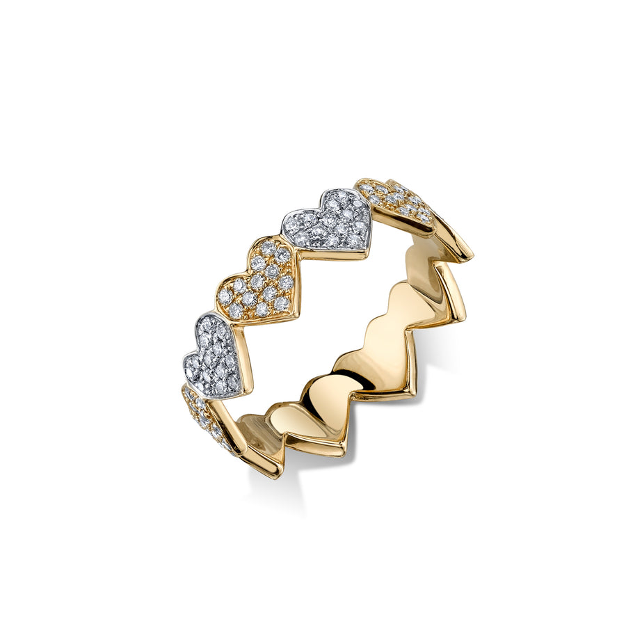 Gold & Pavé Diamond Eternity Heart Ring
