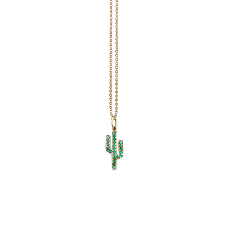 Yellow-Gold and Emerald Cactus Necklace
