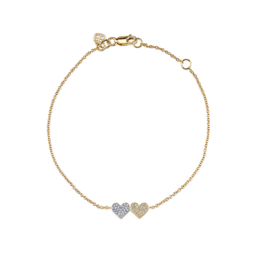 Yellow Gold & Diamond Double Heart Bracelet