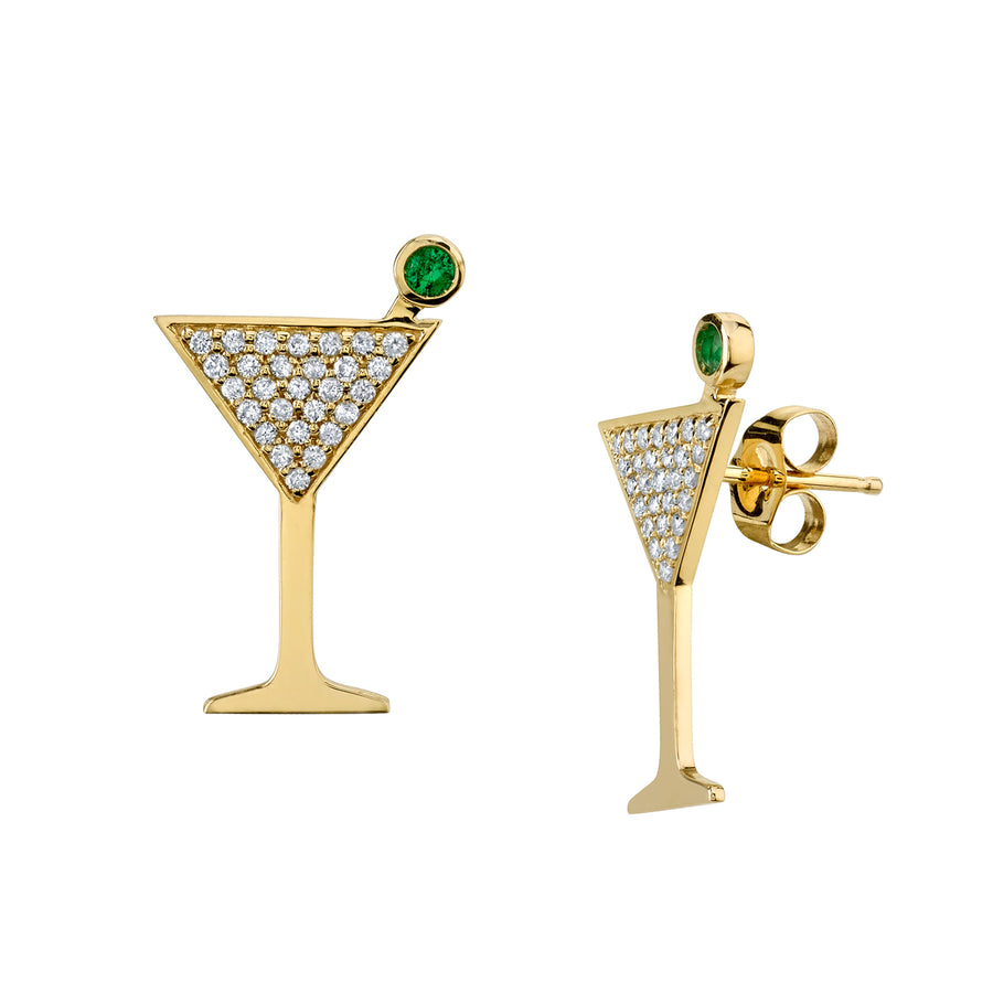 Yellow Gold & Pavé Diamond Large Martini Glass Studs