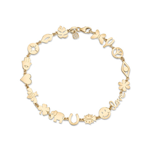 Small Gold Multi-Icon Pure Bracelet