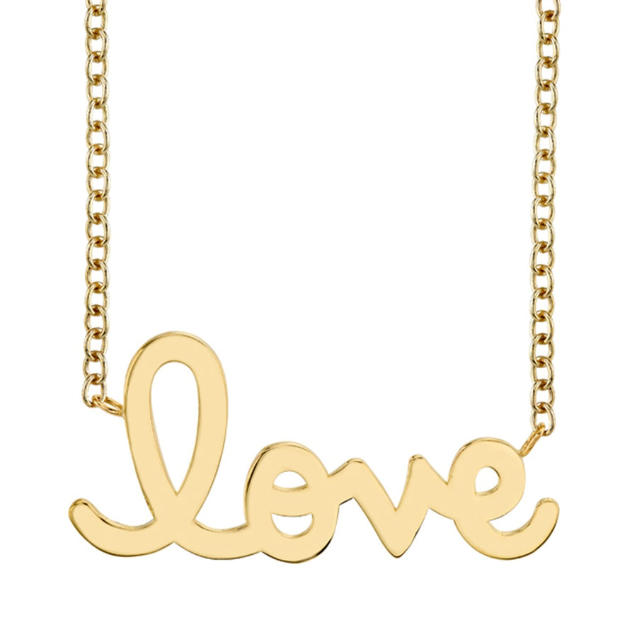 Supersize Yellow Gold Script Love Necklace