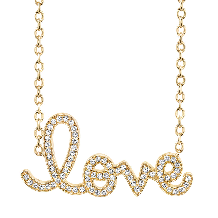 Supersize Yellow Gold & Diamond Script Love Necklace