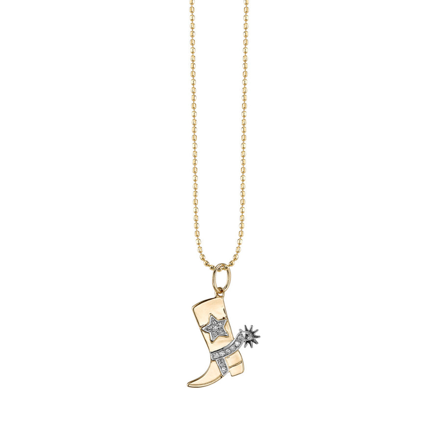 Gold & Diamond Cowboy Boot Charm Necklace