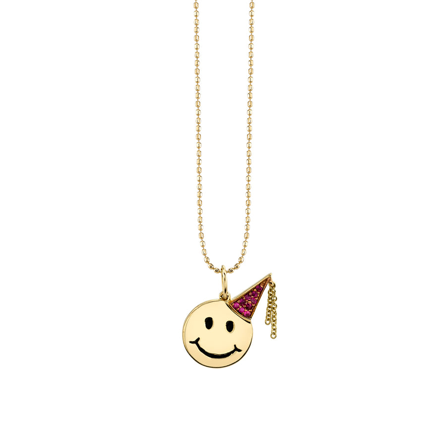 Yellow-Gold & Ruby Birthday Happy Face Necklace