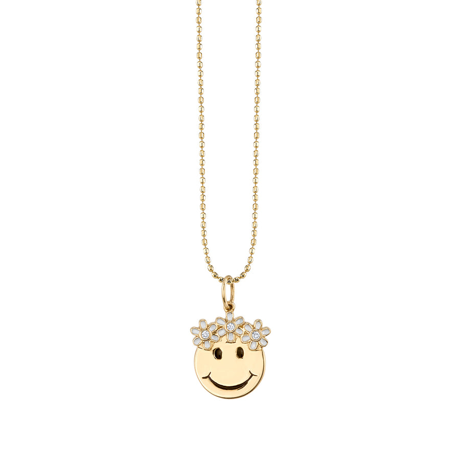 Yellow-Gold & Diamond Flower Power Happy Face Necklace