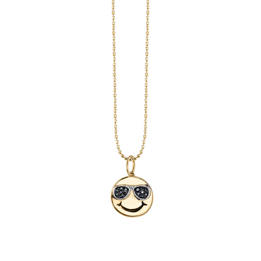 Yellow-Gold & Black Diamond Sunglasses Happy Face Necklace