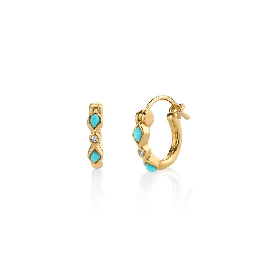 Yellow-Gold Turquoise & Diamond Bezel Huggie Hoops
