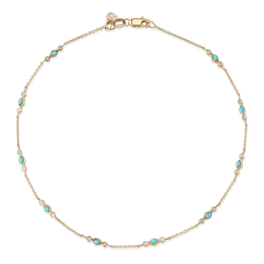 Yellow Gold & Bezel Diamond Turquoise Anklet