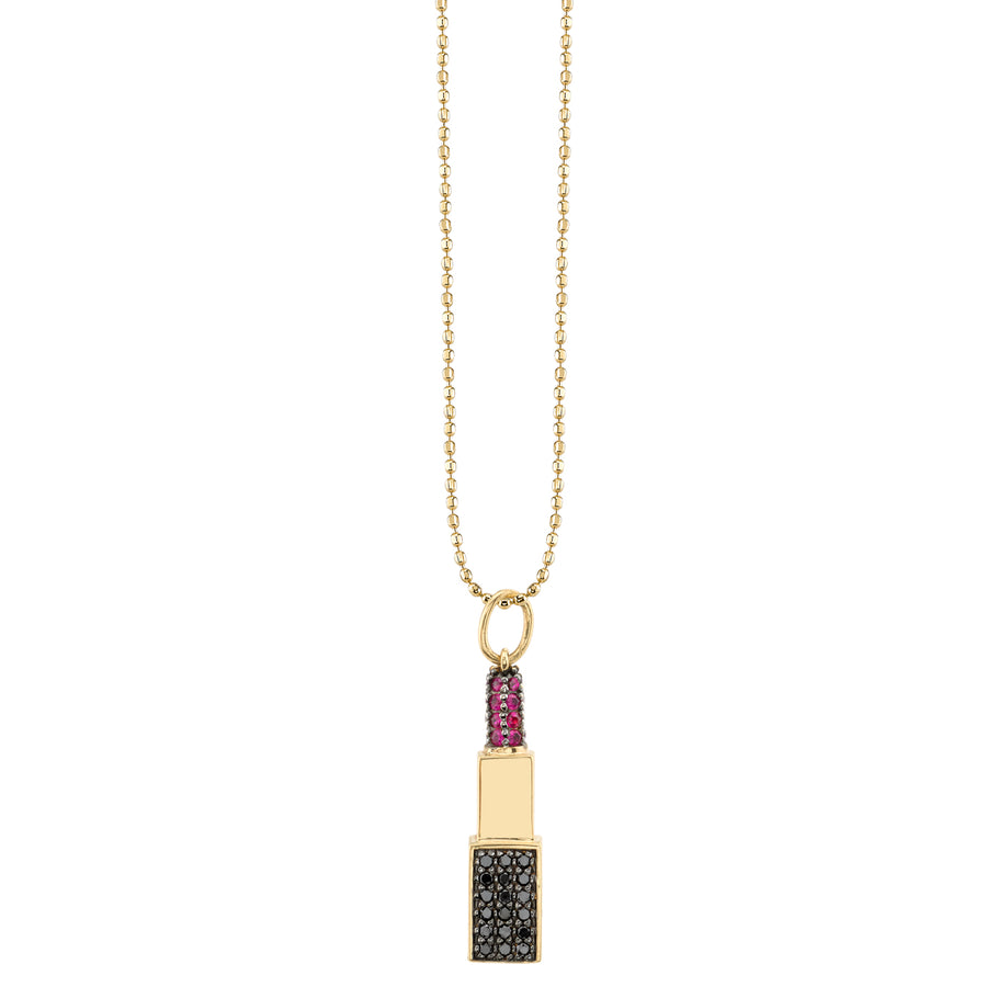 Yellow-Gold Ruby & Black Diamond Pavé Lipstick Necklace