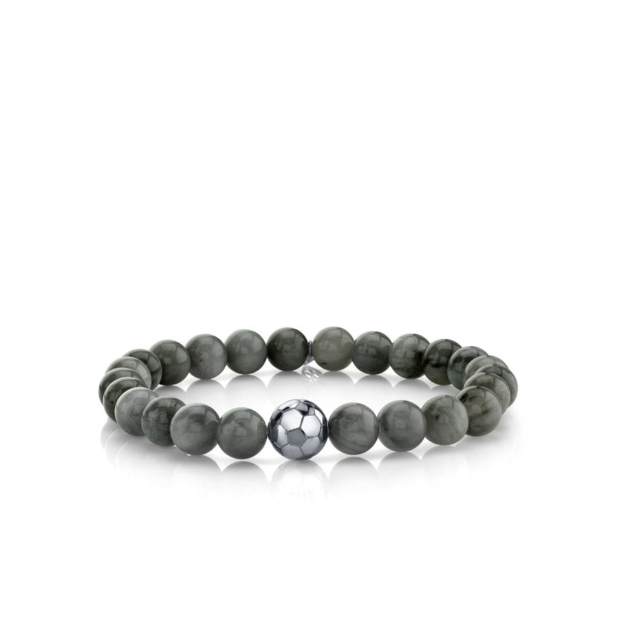 Men's Collection White-Gold Soccer Ball Bead on Grey Cat's Eye