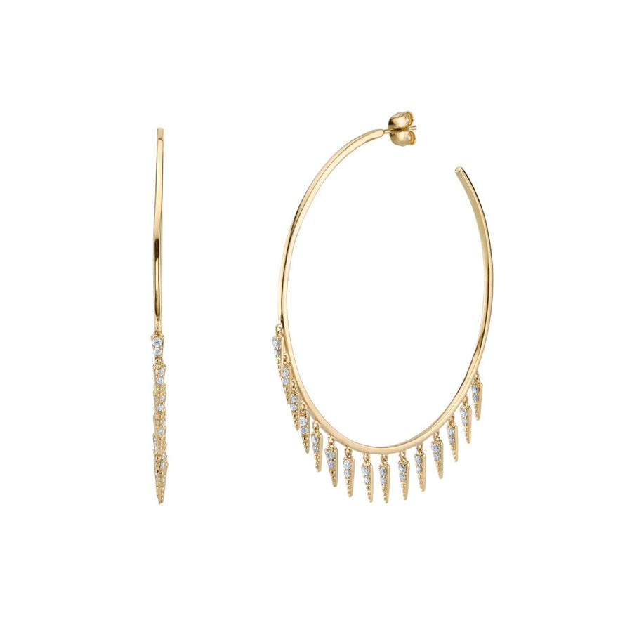 Gold & Diamond Fringe Large Hoops