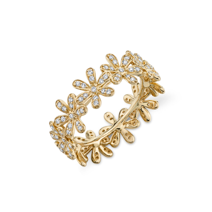 Yellow-Gold & Diamond Daisy Eternity Ring