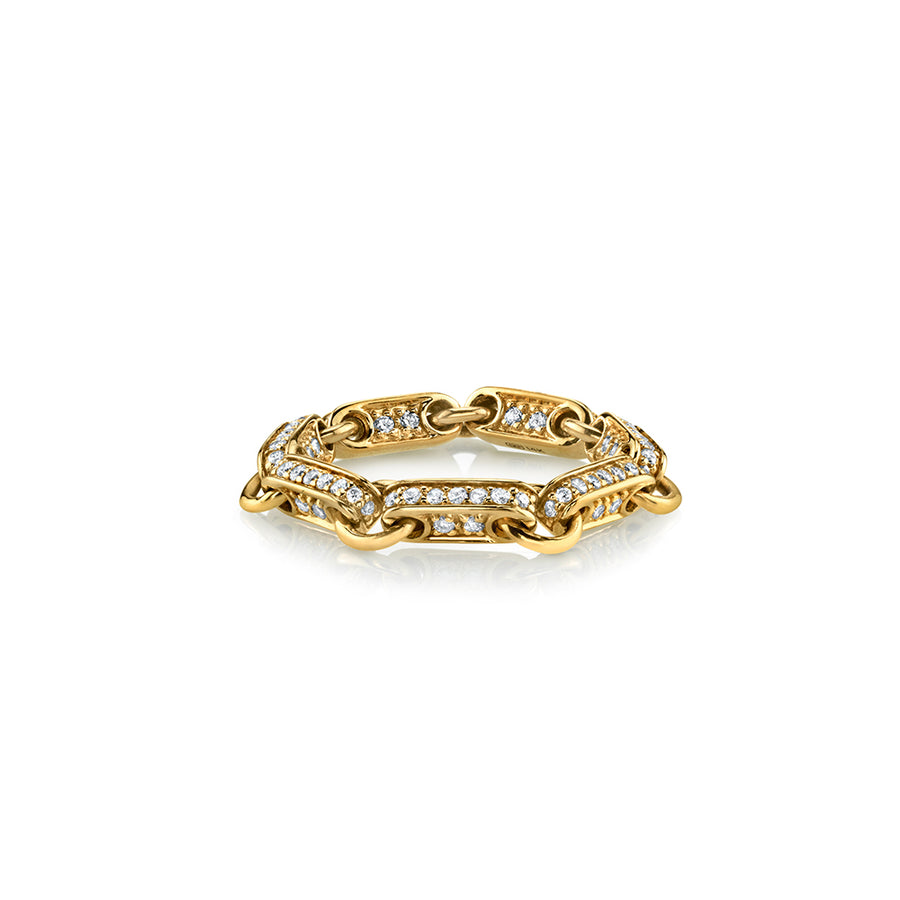Gold & Diamond Pave Link Ring