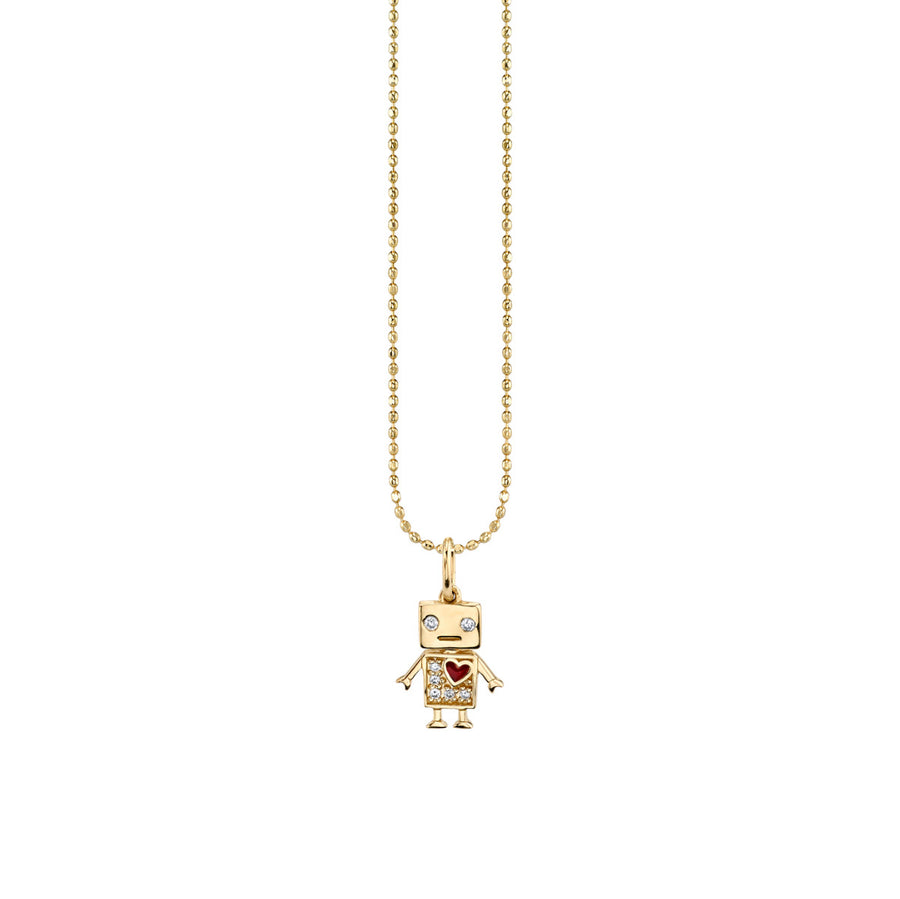 Yellow-Gold & Diamond Baby Robot Necklace