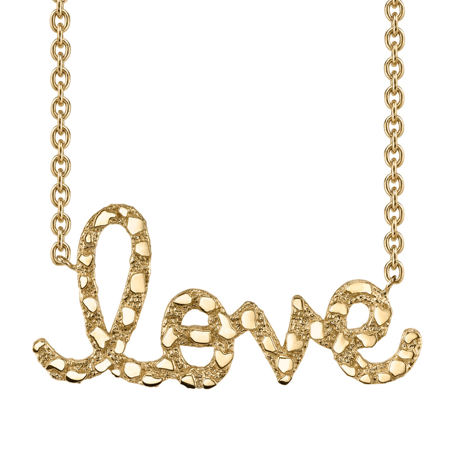 Supersize Yellow Gold Nugget Script Love Necklace