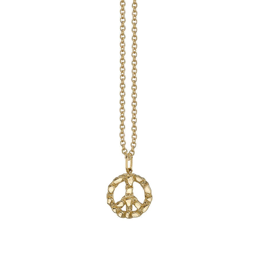 Gold Nugget Peace Sign Necklace