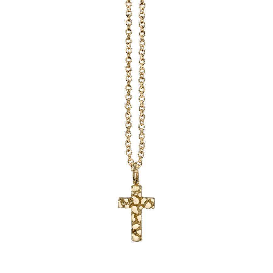 Yellow-Gold Nugget Cross Necklace