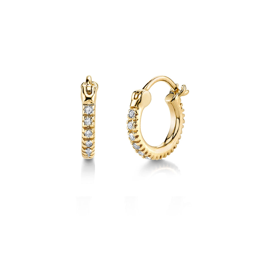 Mini Gold & Diamond Huggie Hoops