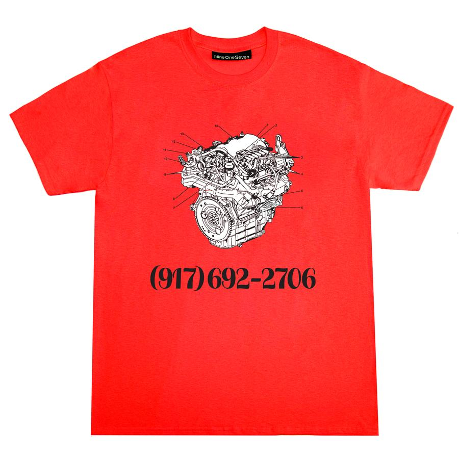 Call Me 917 Engine Dial Tone Tee Red