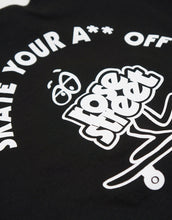 Load image into Gallery viewer, Rose Street Skate Your A** Off Youth Tee Black