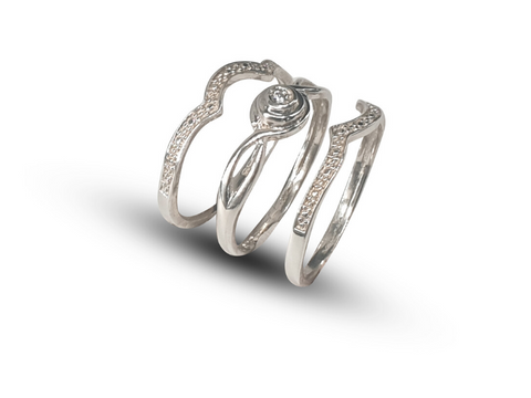 Ladies Sterling Silver Trip Wedding Rings With Pave Design On Sidebands Set With White Round Cubic Zirconia - Lobola Jewels