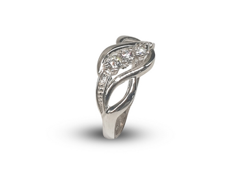 Ladies Sterling Silver Twist Crossover Dress Ring Set With White Round Cubic Zirconia - Lobola Jewels