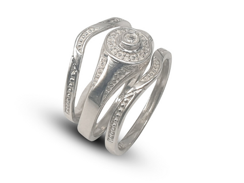 Ladies Sterling Silver Wedding Band Set With Round White Cubic Zirconia - Lobola Jewels