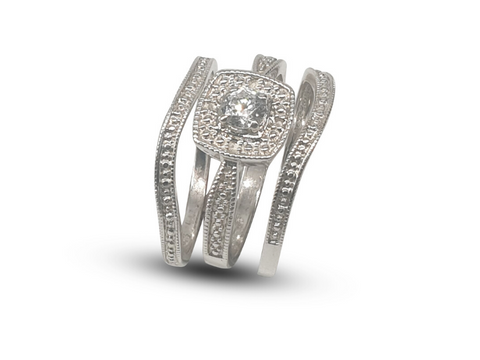 Ladies Sterling Silver Trip Band Wedding Ring Set With White Cubic Zirconia - Lobola Jewels