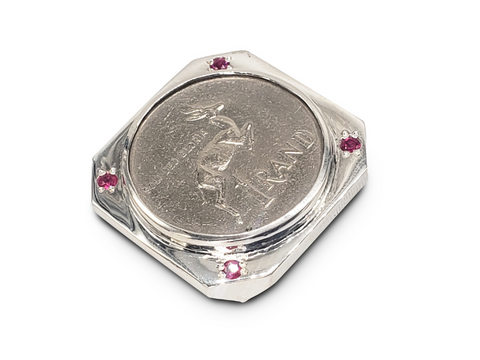 Gents Sterling Silver Wide R1 Coin Ring Set With Ruby Cubic Zirconias - Lobola Jewels