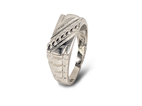 Gents Sterling Silver Rectangular Top And Sidestep Band Fashion Ring - Lobola Jewels