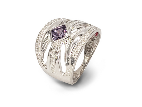 Ladies Sterling Silver Wide Dress Ring Set With Square Purple Cubic Zirconia - Lobola Jewels