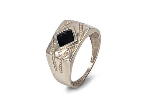 Gents Sterling Silver Wide Gents Fashion Ring Set With Square Onyx Gemstone - Lobola Jewels