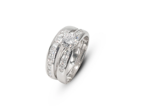 Ladies Sterling Silver Wedding Band Set With White Cubic Zirconias - Lobola Jewels