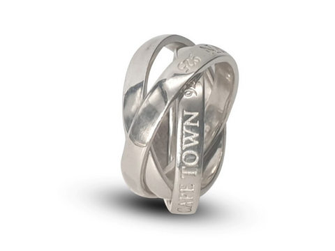 Ladies Sterling Silver Swirl Ring With Personalized Option Available - Lobola Jewels