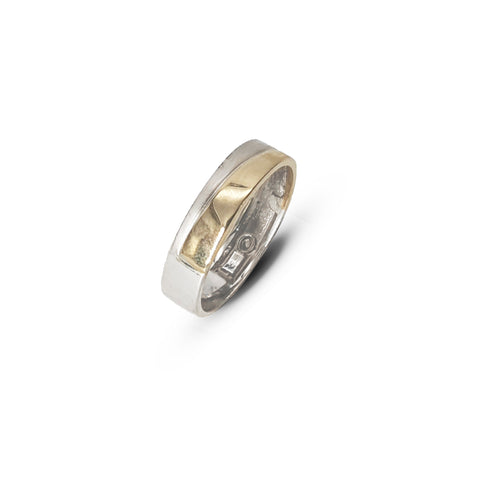 Gents Two-Tone Wedding Band with Silver Matt Finish - Lobola Jewels