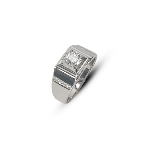 Gents Silver Wide Wedding Band set with White Cubic Zirconia - Lobola Jewels