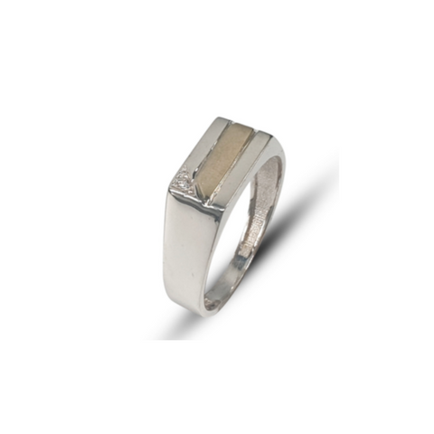 Gents two-tone sterling silver & 9k yellow gold rectangular fashion ring set with round white cubic zirconia.
