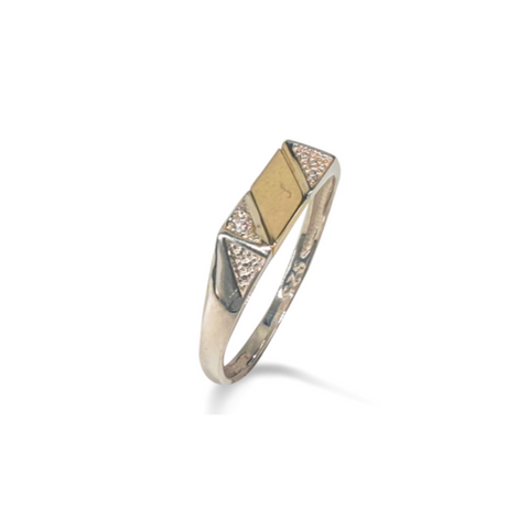 Gents two-tone sterling silver & 9k yellow gold fashion ring