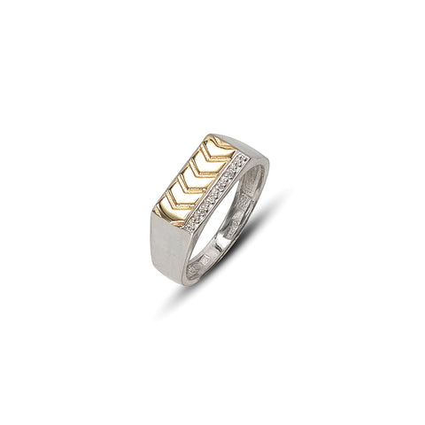 Gents Two-Tone 9 kt Gold and Silver Arrow Fashion Ring Set With White Cubic Zirconias - Lobola Jewels
