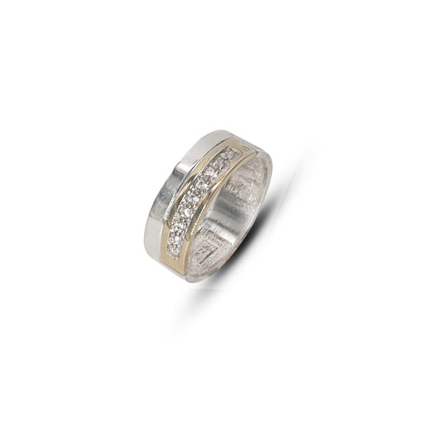 Gents Two-Tone Silver and Gold Wedding Band Set With White Cubic Zirconias - Lobola Jewels