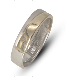Gents two-tone Sterling Silver & 9k yellow gold wedding band with a silver matte finish