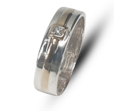 Gents two-tone sterling silver & 9k yellow gold band with white cubic zirconia
