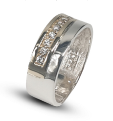 Gents two-tone sterling silver & 9k yellow gold wedding band set with white cubic zirconia's