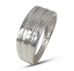 Gents sterling silver wide groove wedding band with a matte finish