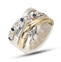Ladies Two-Tone Sterling Silver & 9k Yellow Gold Crossover Dress Ring Set With White Cubic Zirconia's