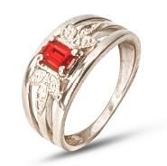 Ladies sterling silver side stone dress ring set with red and white cubic zirconia's.