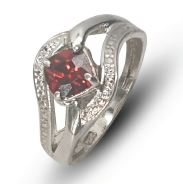 Ladies sterling silver split shank dress ring set with red cubic zirconia