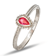 Ladies sterling silver ring set with a red pear shape cubic zirconia