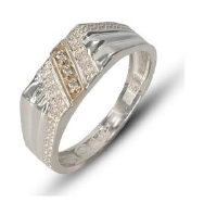Gents two-tone Sterling Silver & 9k yellow gold fashion ring set with white cubic zirconia's